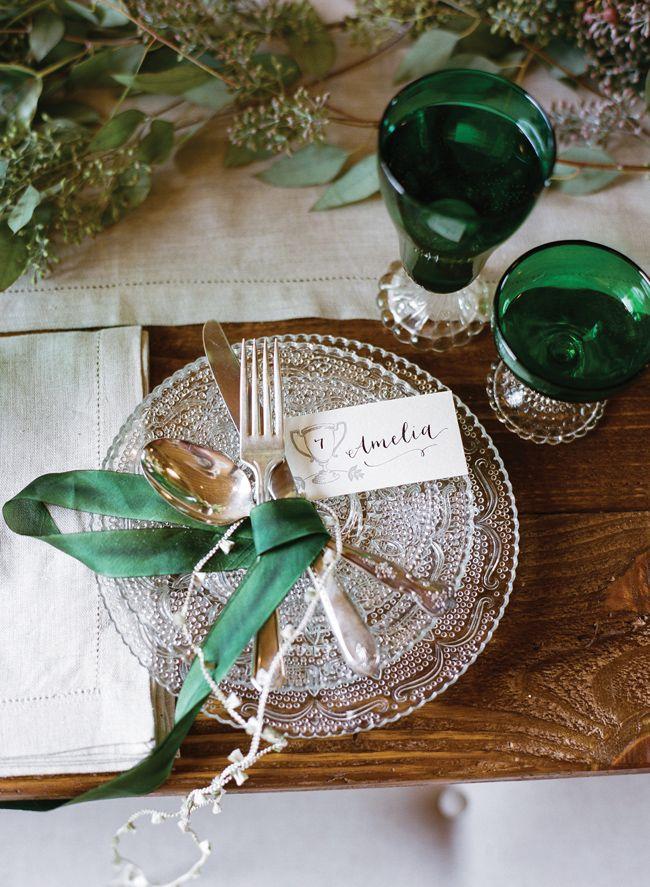 Emerald wedding inspiration via Coastal Bride
