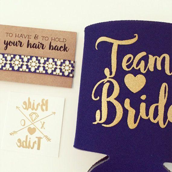 Team Bride Bachelorette Gift Set Metallic Gold Tattoo Hair Tie Drink Cooler Favor Party