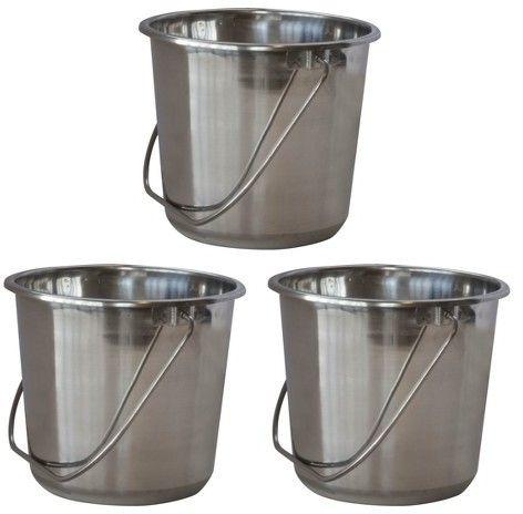 AmeriHome 3pc Stainless Steel Bucket Set - Silver