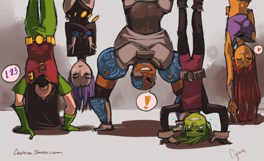 Team workout.. Kind of xD<<<and then beast boy turns into a monkey to make it easier for him