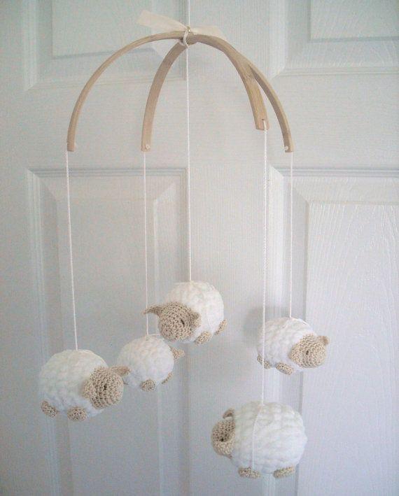 Baby Mobile Nursery Mobile Crochet Sheep by EllaLeeRoseOriginals, $83.00
