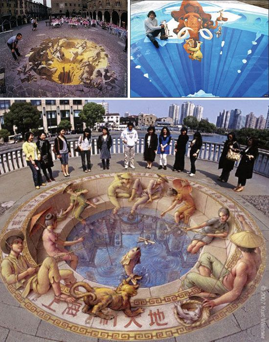 Amazing street art! I sat for hours and watched talented artists paint the roads and sidewalks in Italy with pastels. Many streets were cleaned at night and the artist would start again in the morning with a new design. I have not seen the ones posted here - but love them!