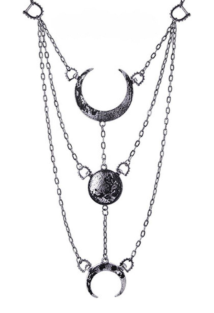 Silver Moon Phases Pendant Necklace Full Crescent Luna