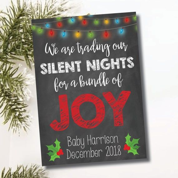 Baby Pregnancy Card Christmas December Announcement Sign Card Bundle of Joy Silent Nights Digital Fi  – Products