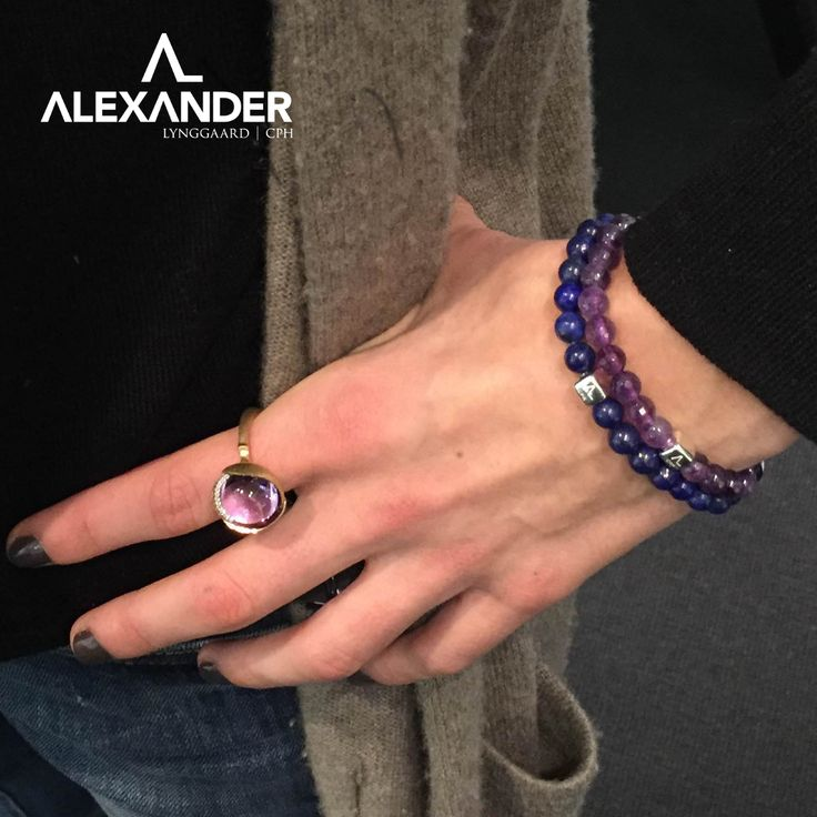 Our ColorUp Amethyst & Lapis bracelets combined with this beautiful Lotus ring from Ole Lynggaard Copenhagen