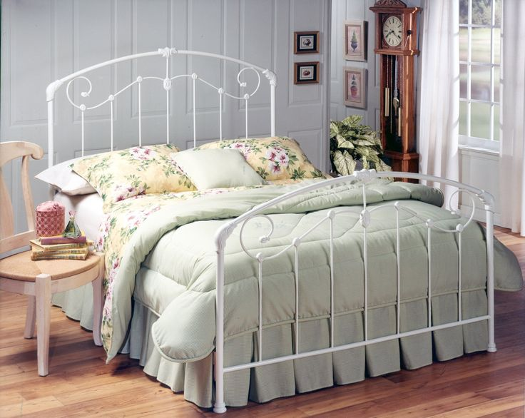 Hillsdale Maddie Headboard - Full/Queen - w/Rails. A lightly scaled, Victorian-style bed that marries interesting scrollwork with vivid castings. The set-up possibilities, whether it be a link spring and trundle or box spring and mattress, make this bed a versatile favorite. The Maddie is a perfect choice for any girl's first bed.
