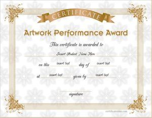 Best Artwork Performance Award Certificate Template For MS Word DOWNLOAD At  Http://certificatesinn