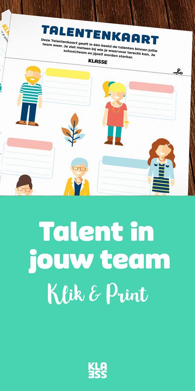 Deze Talentenkaart geeft in 1 beeld de talenten binnen jullie team weer. Je ziet meteen bij wie je waarvoor terechtkan. Je school, team en jijzelf worden sterker. #download #onderwijs