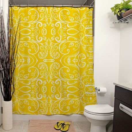 Silent Era Yellow Shower Curtain by JanetAnteparaDesigns on Etsy, $65.00#showercurtain #bathroom #homedecor #home #curtain #bath #shower #yellow #silentera #swirls #pattern