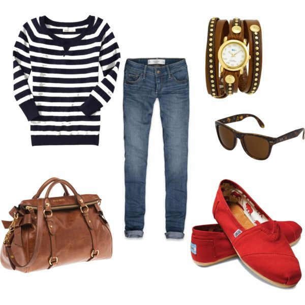 Navy stripes. Red TOMS. Love this!