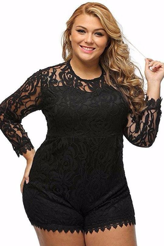 ad032868027be Chicloth Black Plus Size Long Sleeve Lace Romper - Chicloth  womensfashion   plussize  plussizefashion