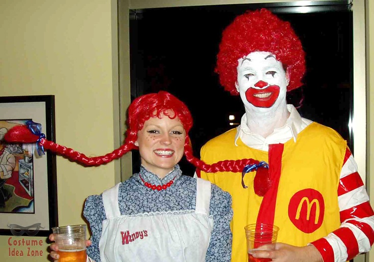 Wendy from Wendy's with Ronald McDonald from McDonald's - perfect couples costume. For tons more couples costume ideas visit our site: http://costumeideazone.com