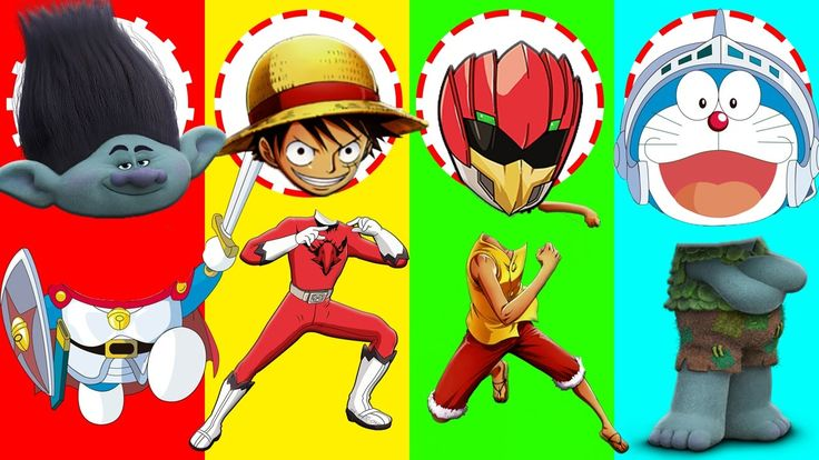 Wrong Heads One Piece Luffy Doraemon Dreamcast Trolls Power Ranger Finge...