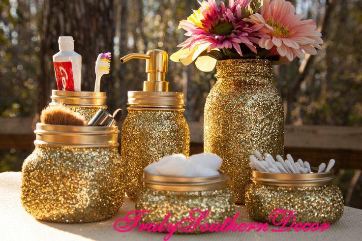 6 piece Gold glitter bathroom set. Mason Jar Bathroom Set. by TrulySouthernDecor on Etsy https://www.etsy.com/listing/194522924/6-piece-gold-glitter-bathroom-set-mason