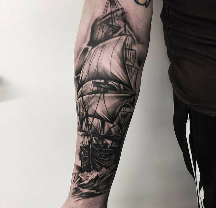 Ship done by Ross Irvineart at Storms & Saints Tattoo in Broxburn, Scotland. Chuffed.