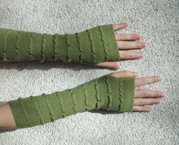 Verde scaldini guanti senza dita Mittens verde di deliriumkredens