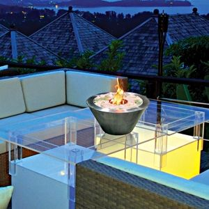 A beautiful fire pit bowl and fire pit table #outdoor #fireplaces #outdoor #entertaining mantelsdirect.com: Indoor Outdoor Fireplace, Fireplaces Glass, Gel Fireplace, Fuel Fireplaces, Outdoor Fireplaces, Oasis Tabletop, Tabletop Fireplace, Gel Fuel