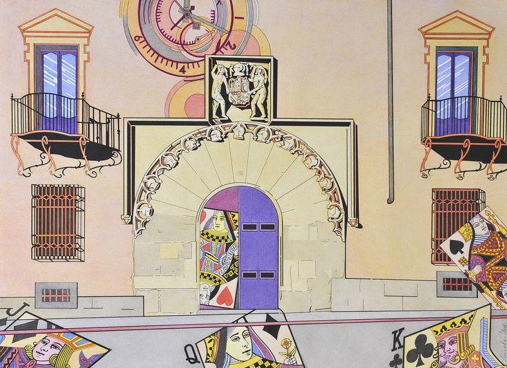 """""""Palacio encantado"""" está situado en una plaza segoviana rodeada de palacios antiguos. Este es el de Quintanar, de portada gótica, y actualmente centro cultural. La antigua nobleza queda representada por lo efímero de los naipes."""