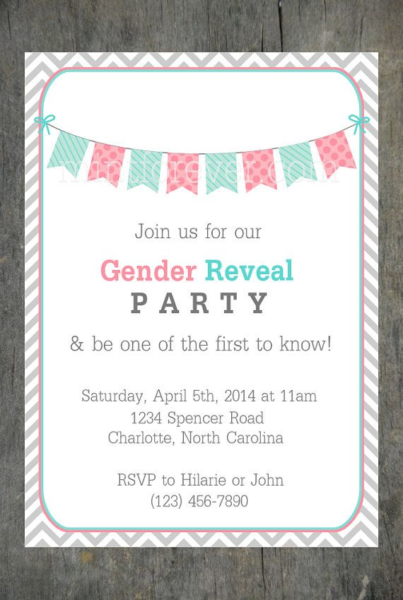 Chevron Gender Reveal Party Invitation by Olive + Hook