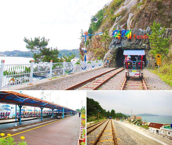 vélo sur rails en bord de mer à Samcheok