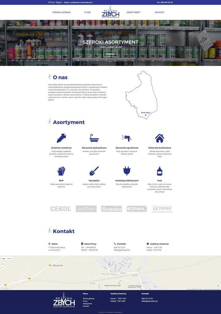 PPHU Zbych, Web design, layout, projekt strony internetowej