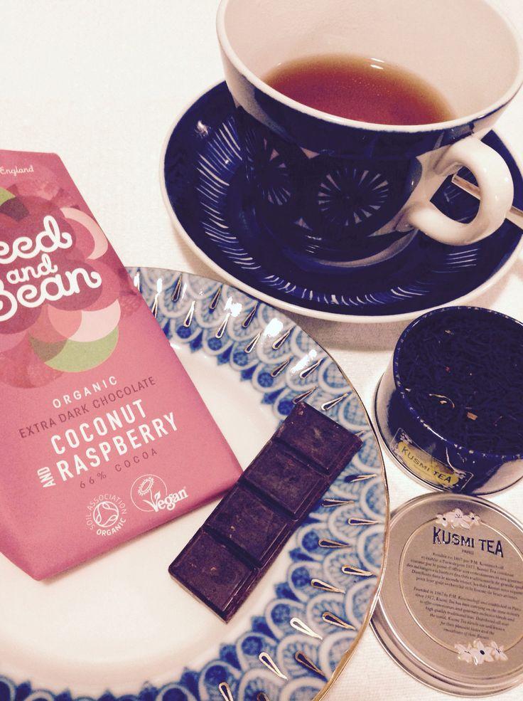 Evening tea, Kusmi Anastasia, with vegan raspberry chocolate from Seeda and Bean