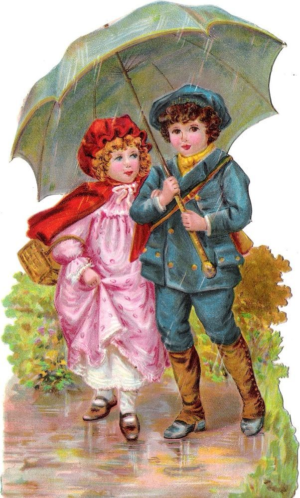 Oblaten Glanzbild scrap die cut chromo Kind child XL 19cm enfant Schirm umbrella