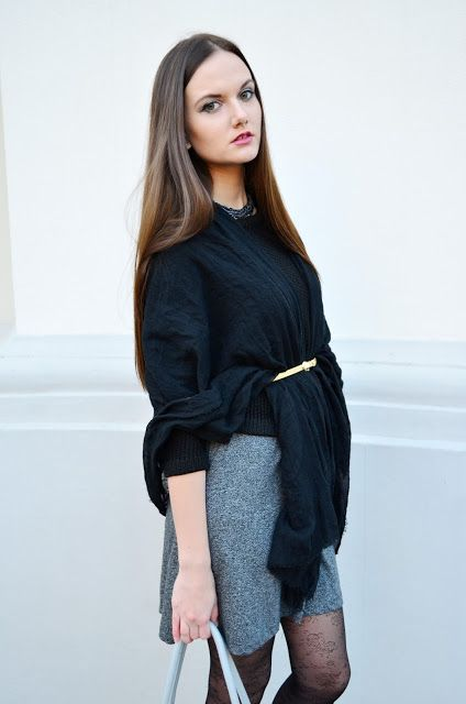 grey, dress, gold, belt, black, style, outfit, signorinaanita