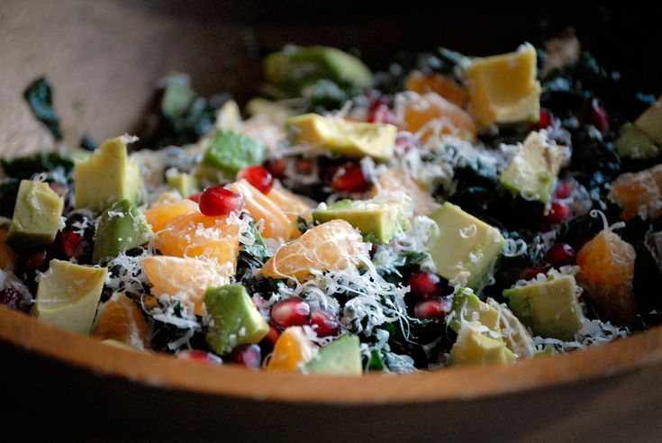 Christmas Kale Salad with Pomegranate,Tangerine and Avocado Why do you need another kale salad recipe? Because not only will this one blow your mind with awesomeness, but I can give you five good reasons to make it. Recipe post by Kim Laidlaw Photos: Wendy Goodfriend