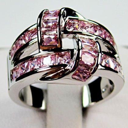 size7/8/9 Gorgeous Pink Interlock 10KT WGF Ring