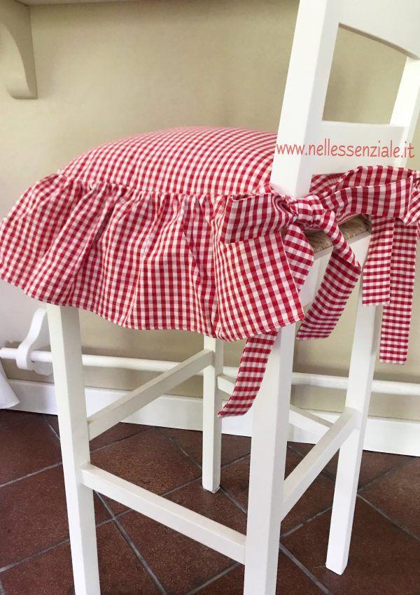 Cuscino country chic a quadretti rossi con balza singola ...