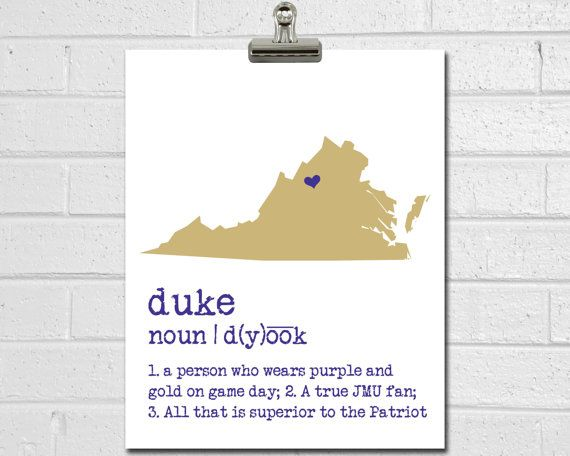 JMU Dukes Print - College Dorm Decor - James Madison University Art - Dorm Decorations - Dorm Poster - College Room Decor - Graduation Gift