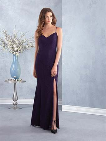 Alfred Angelo Style 7429: floor length lace bridesmaid dress with spaghetti straps and skirt slit
