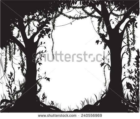 fairytale silhouette | thicket, deep fairy forest silhouette, jungle shadows - stock vector