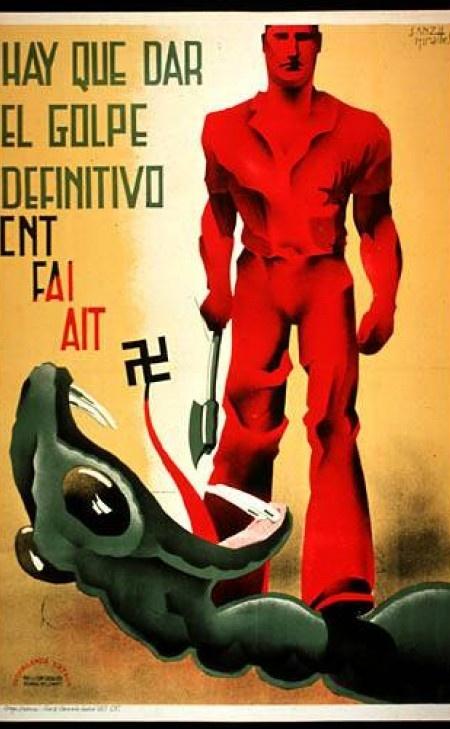Afiche de propaganda libertaria CNT-FAI | Guerra civil Española 1936-1939 | Anarquismo