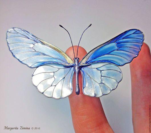 Броши ручной работы. Ярмарка Мастеров - ручная работа. Купить Синяя Бабочка.  Ювелирное украшение. Шпилька. Брошь.. Handmade. Синий