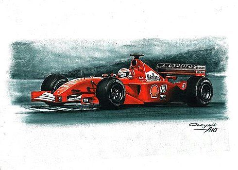 2001, Ferrari F2001,  Michael Schumacher,  Rubens Barrichello,  Ferrari F1 collection ART by Artem Oleynik. This collection demonstrating Ferrari F1 racing cars since 1950 to 2016 and includes 96 pictures in oil on canvas. The size of each original picture is 25 x 35 cm.