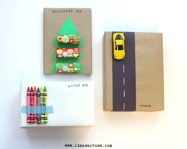 Great giftwrap ideas for kids' gifts: Love the crayons!