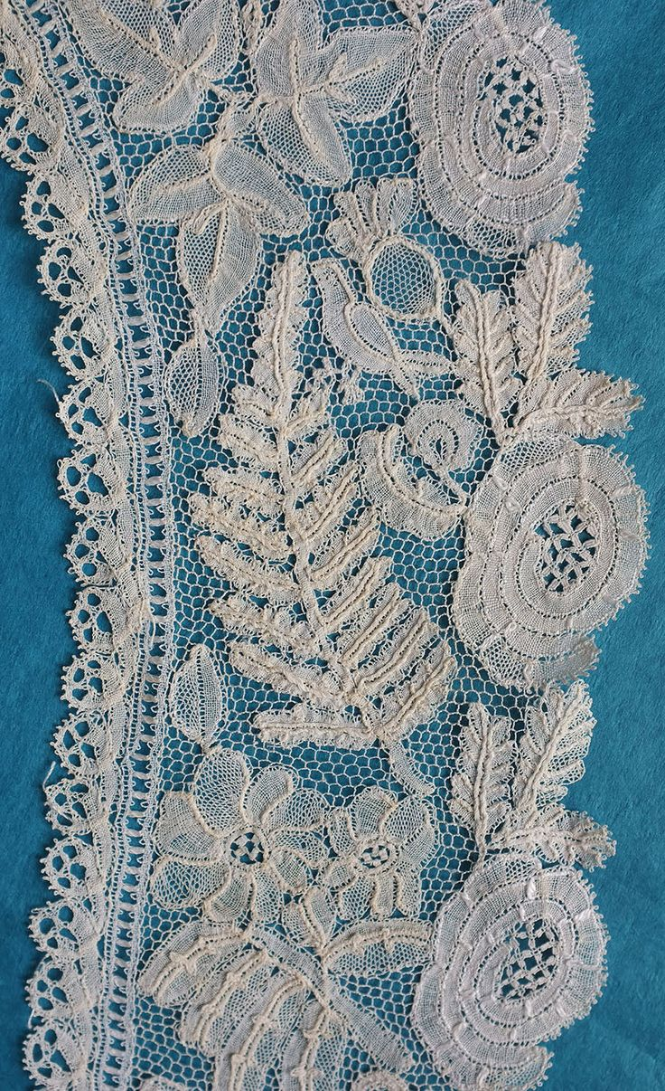 Antique fine Honiton lace crossover collar - needlelace ground - ferns, flowers | eBay