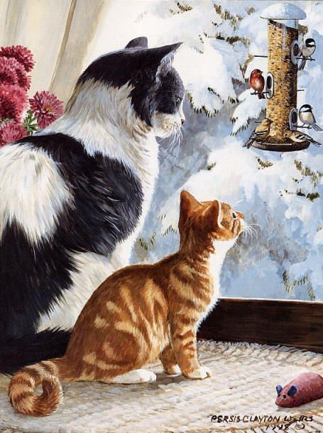 Winter cat painting. Persis Clayton Weirs - Birding