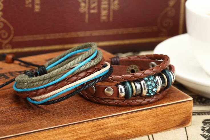 La vendimia pulseras bohimia personalizados hechos a mano de cuero genuino azul multi capa nueva 2014