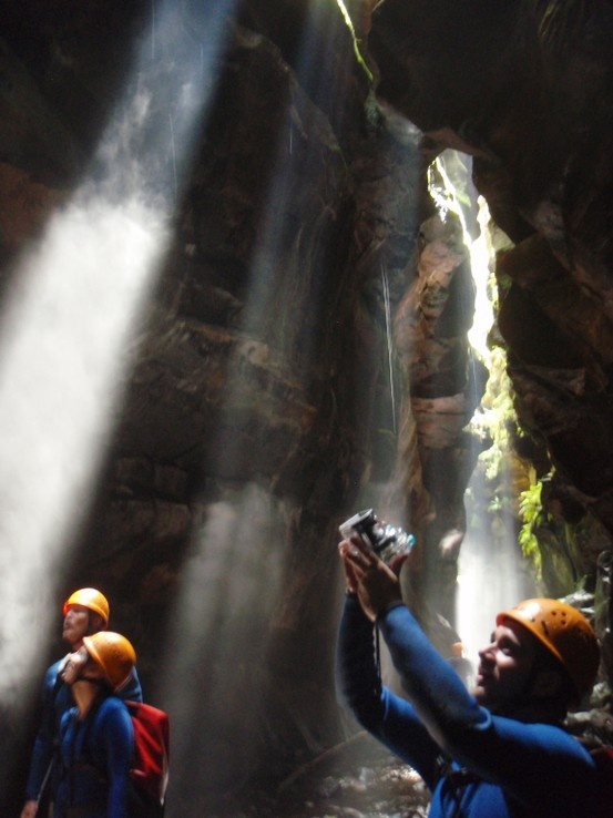 Capturing the shafts of sunlight in Rocky Creek Canyon - every photographer's dream