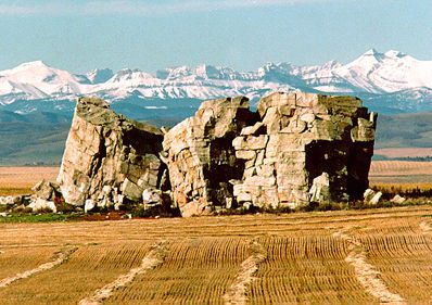 The Big Rock, a glacial erratic, is located 7 km west of Okotoks, Canada