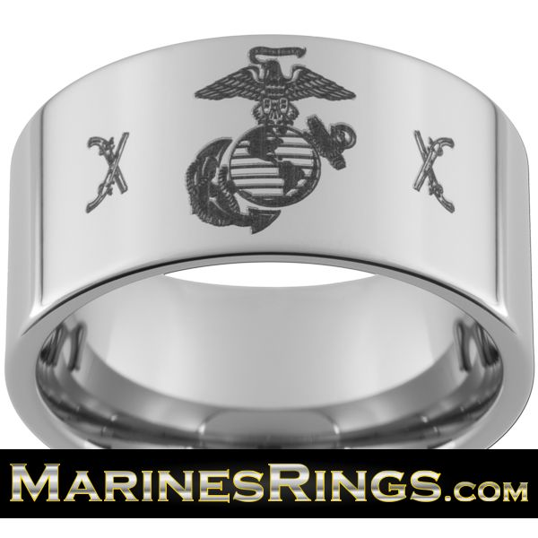 Tungsten Carbide Mens Flat Comfort Fit Wedding Ring With U Marine Crossed Rifles USMC Eagle Globe And Anchor Band Free Inside Engraving