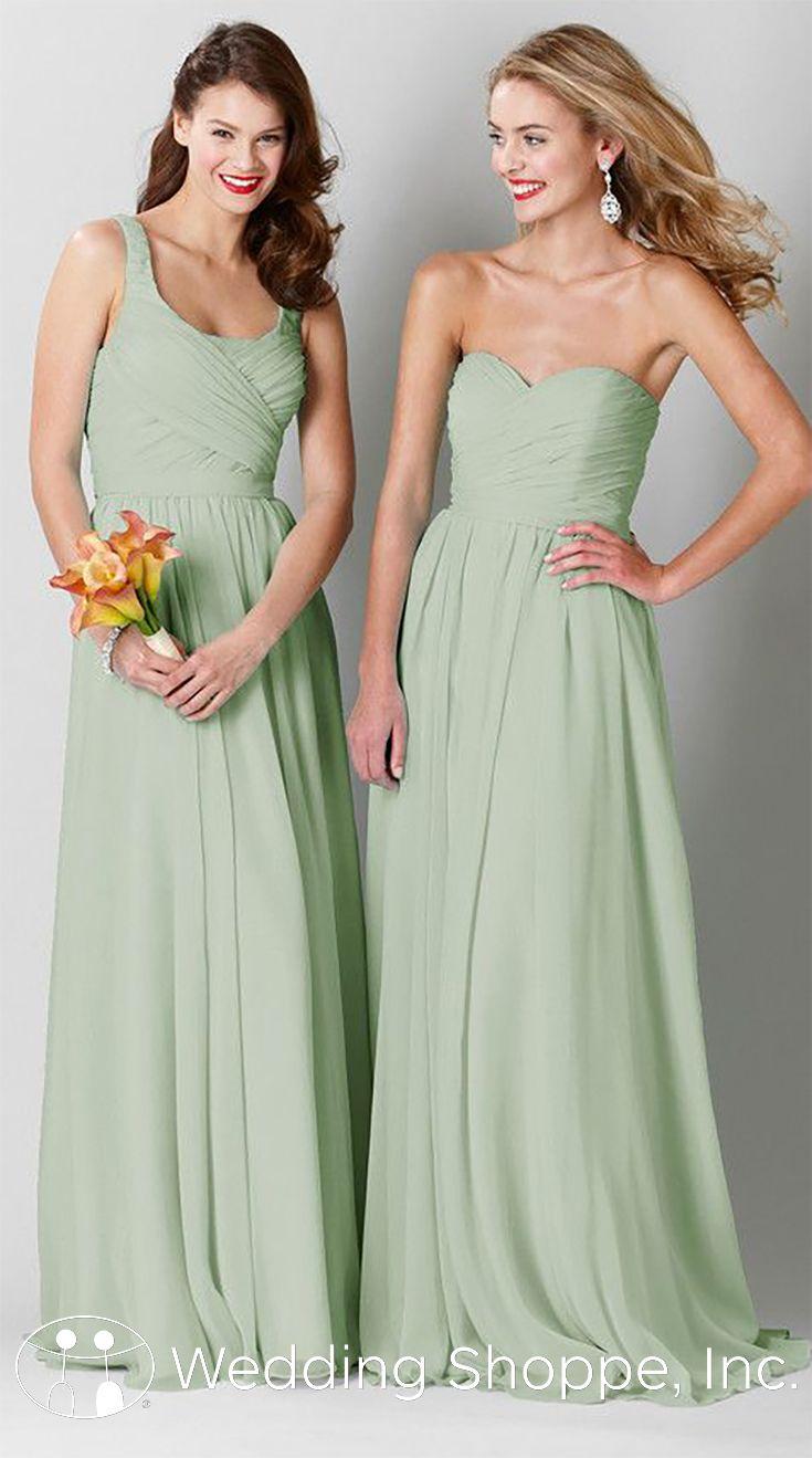 Beautiful long chiffon bridesmaid dresses in sage.   Kennedy Blue Sophia and Olivia