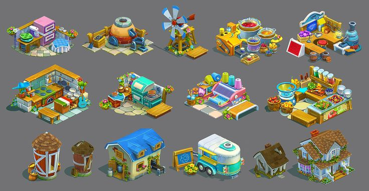 Several 3D models for the farm game. All concepts and models are made by me. Overpainting by Nadia Pohotina.