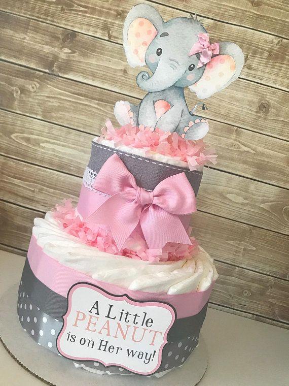 Kleine Erdnuss-Windel-Torte in Pink und Grau, Elefanten-Babyparty-Herzstück, Pink und Grau-Babyparty-Dekorationen