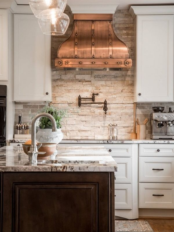 Great Unique Kitchen Interior Design White Cabinets Copper Hood Stone Backsplash  Wood Flooring   Maybe For Bathroom