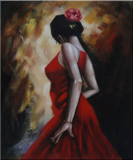 Framed Elegant Spanish Flamenco Dancer with Long Red Skirt Oil ...