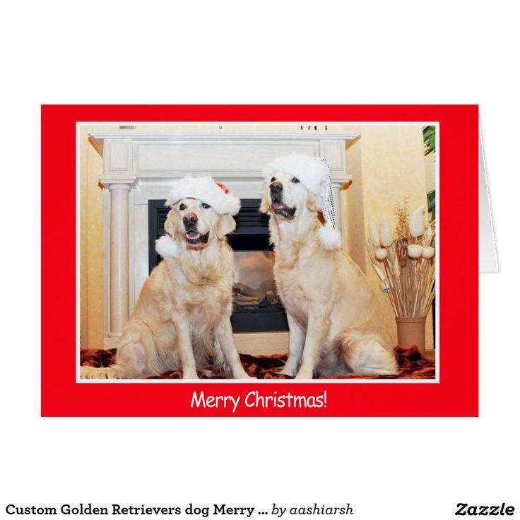 #Custom Golden #Retrievers #dog Merry #Christmas #Card #animal #pet #MerryChristmas